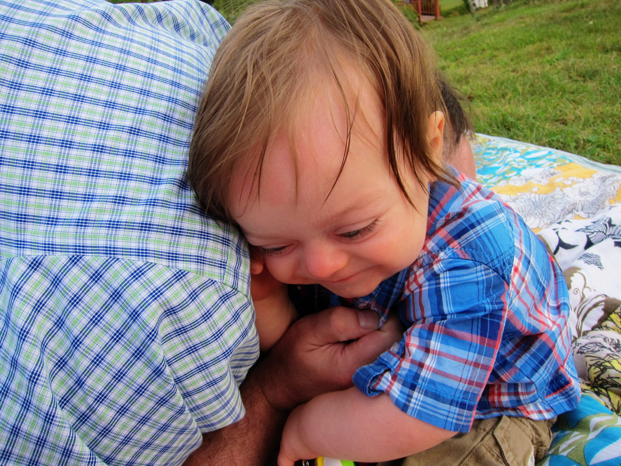 Boo being tickled by Daddy