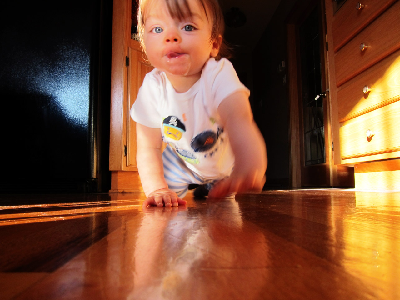 Boo crawling and drooling