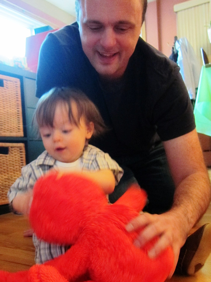 Boo, Dada and Big Hugs Elmo