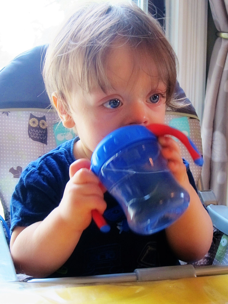 Boo Boo holding his sippy cup