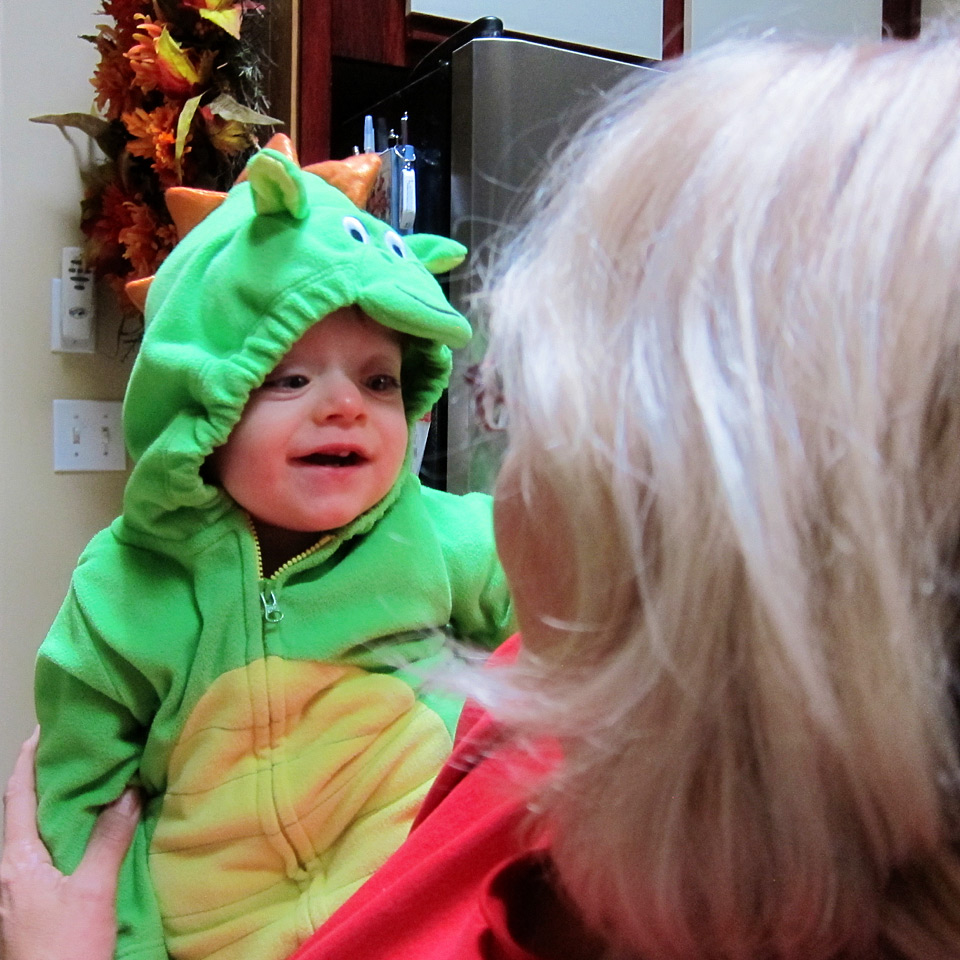 Boo Boo the dragon smiling at Nana