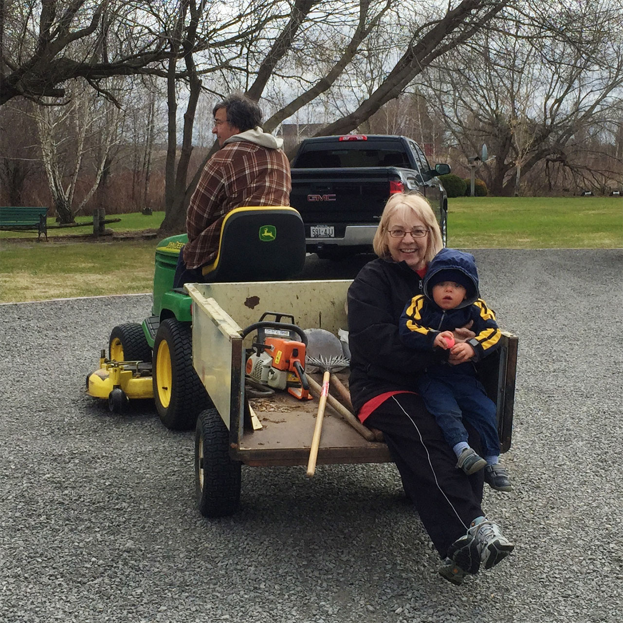 Boo gets a ride in the trailer with Nana
