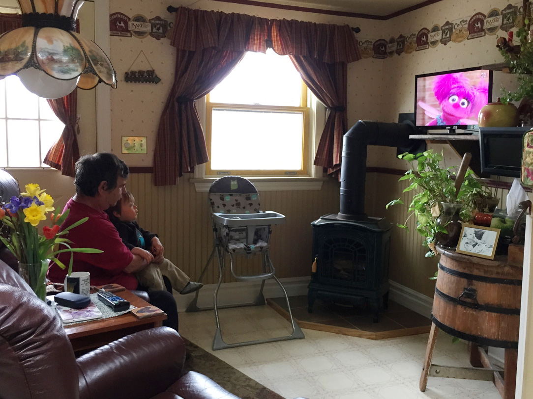 Boo and Gramps watch Sesame Street