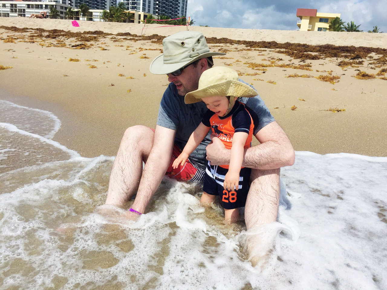 Boo in the surf with Daddy
